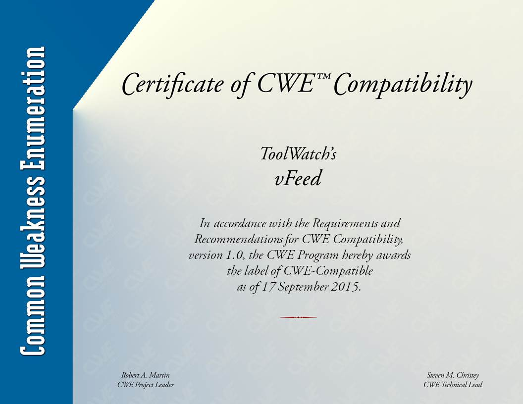 1 about · toolswatch vfeed wiki · github cwe common weakness enumeration is a community developed formal list of common software weaknesses it serves as a common language for describing software