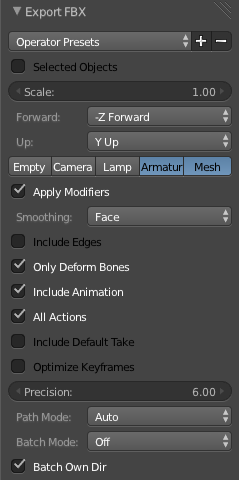 Blender FBX animation export settings