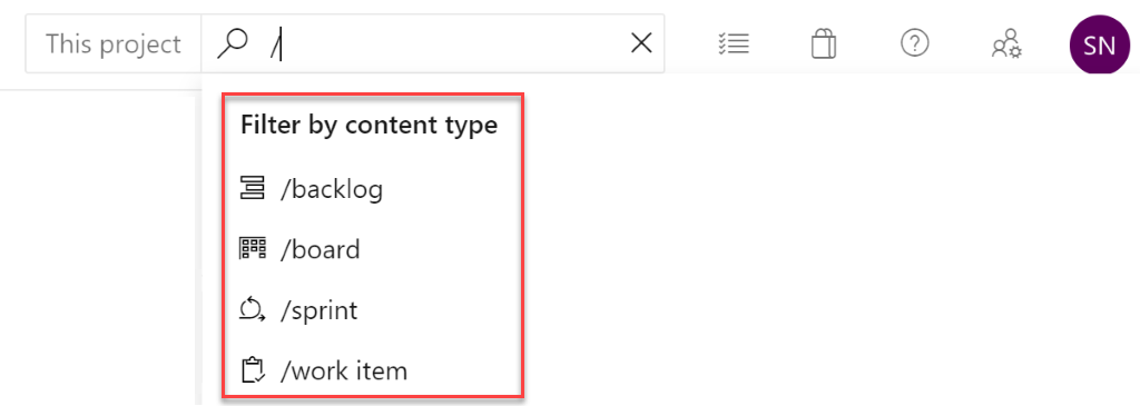 Quick navigation in Azure Boards search