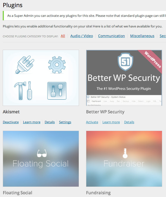 screengrab of the plugins page with the grid layout