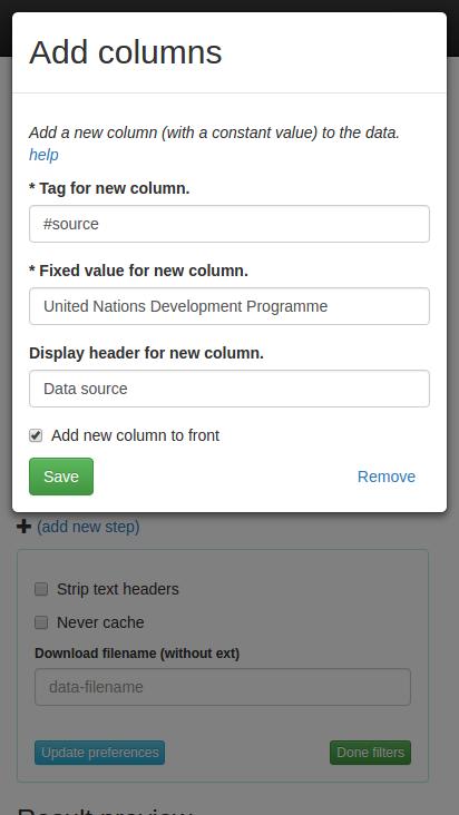 Add column filter dialog.