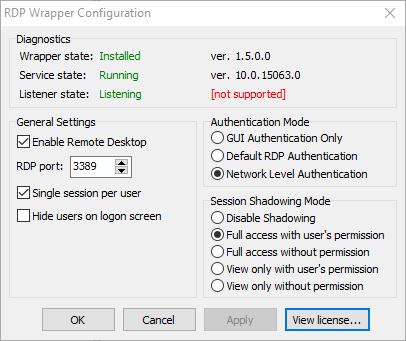 rdp windows 10 home creators update