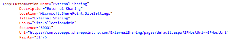 XML definition on getting hte UI link available