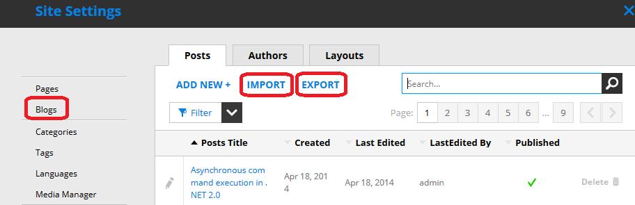 Blogs import - export
