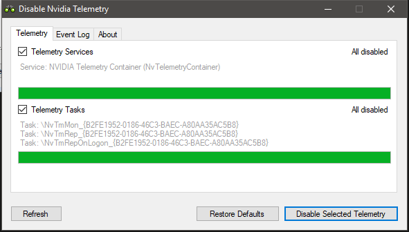 Disable Nvidia Telemetry