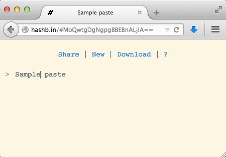 A sample HashBin paste