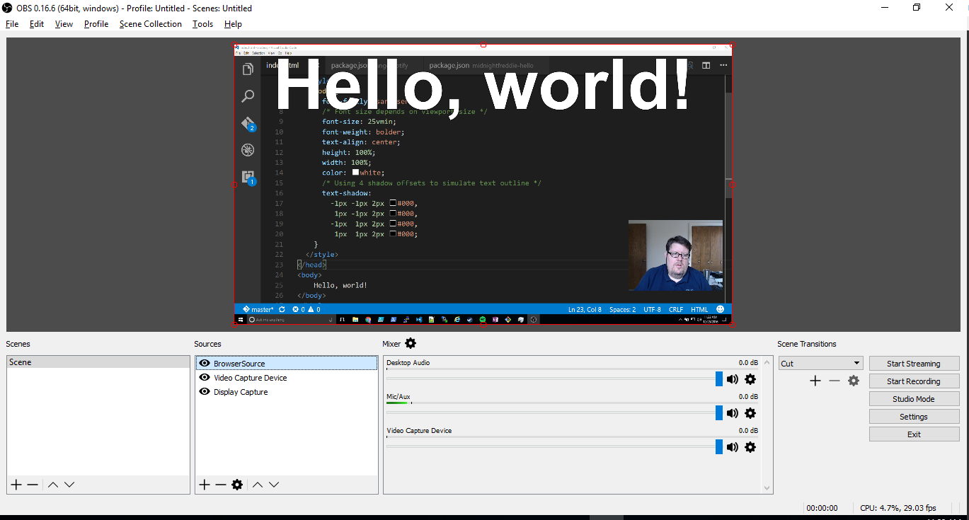"Screenshot of ""Hello, World!"" in OBS"