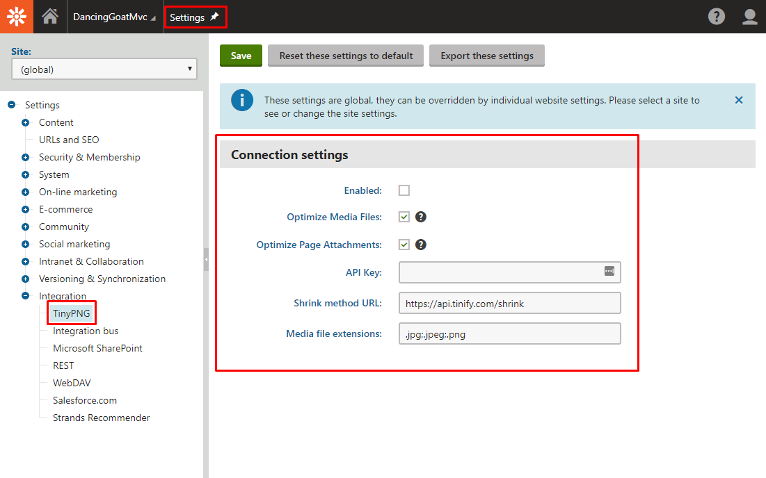 TinyPNG package settings