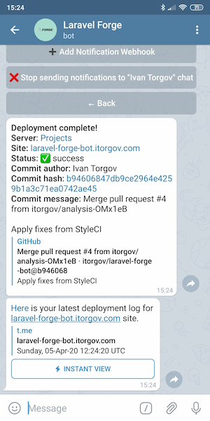 Notification and deployment log example