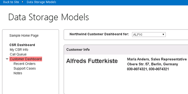 An image of the Data Storage Models page with the Customer Dashboard highlighted.