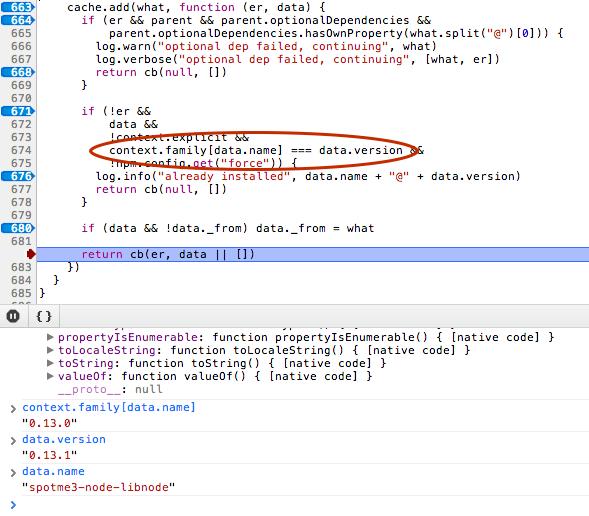 npm link bug