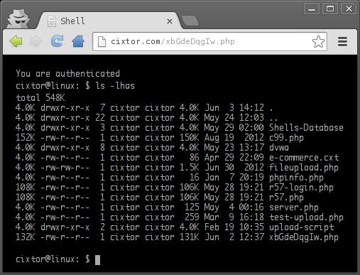 cixtor phpshellgen example