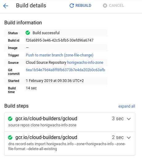 Screenshot of cloud builder build time