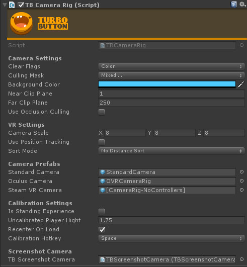 Example of TBCameraRig's filled inspector
