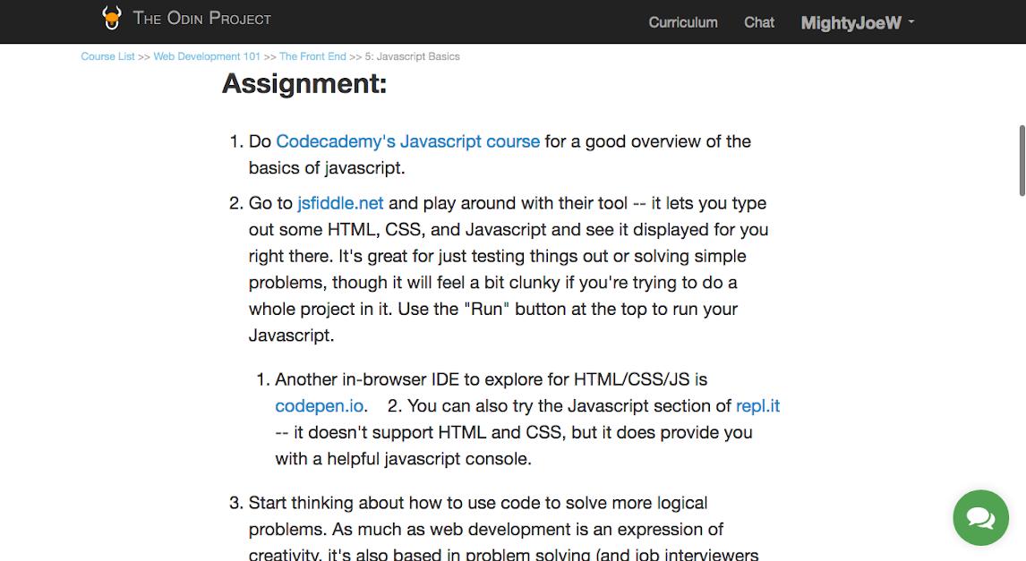 Odin Project Javascript section