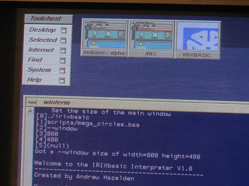 IRIXBASIC in the SGI Terminal