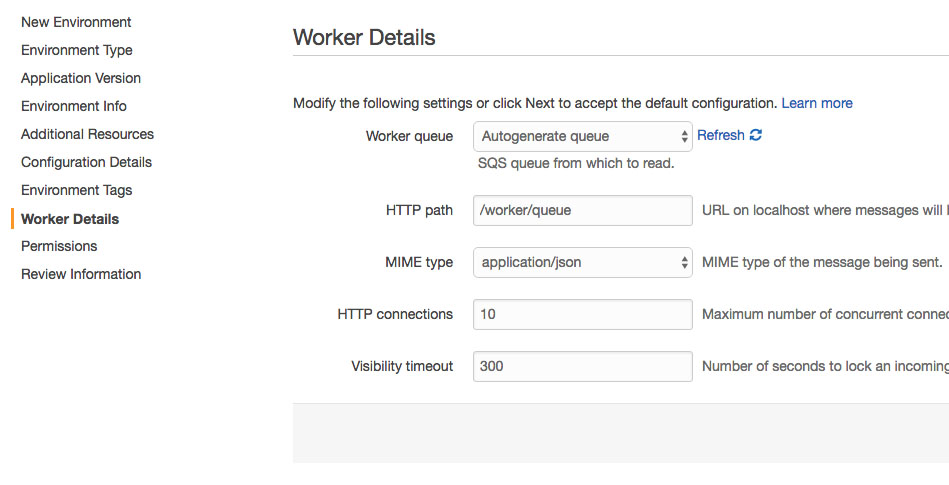 AWS Worker queue settings