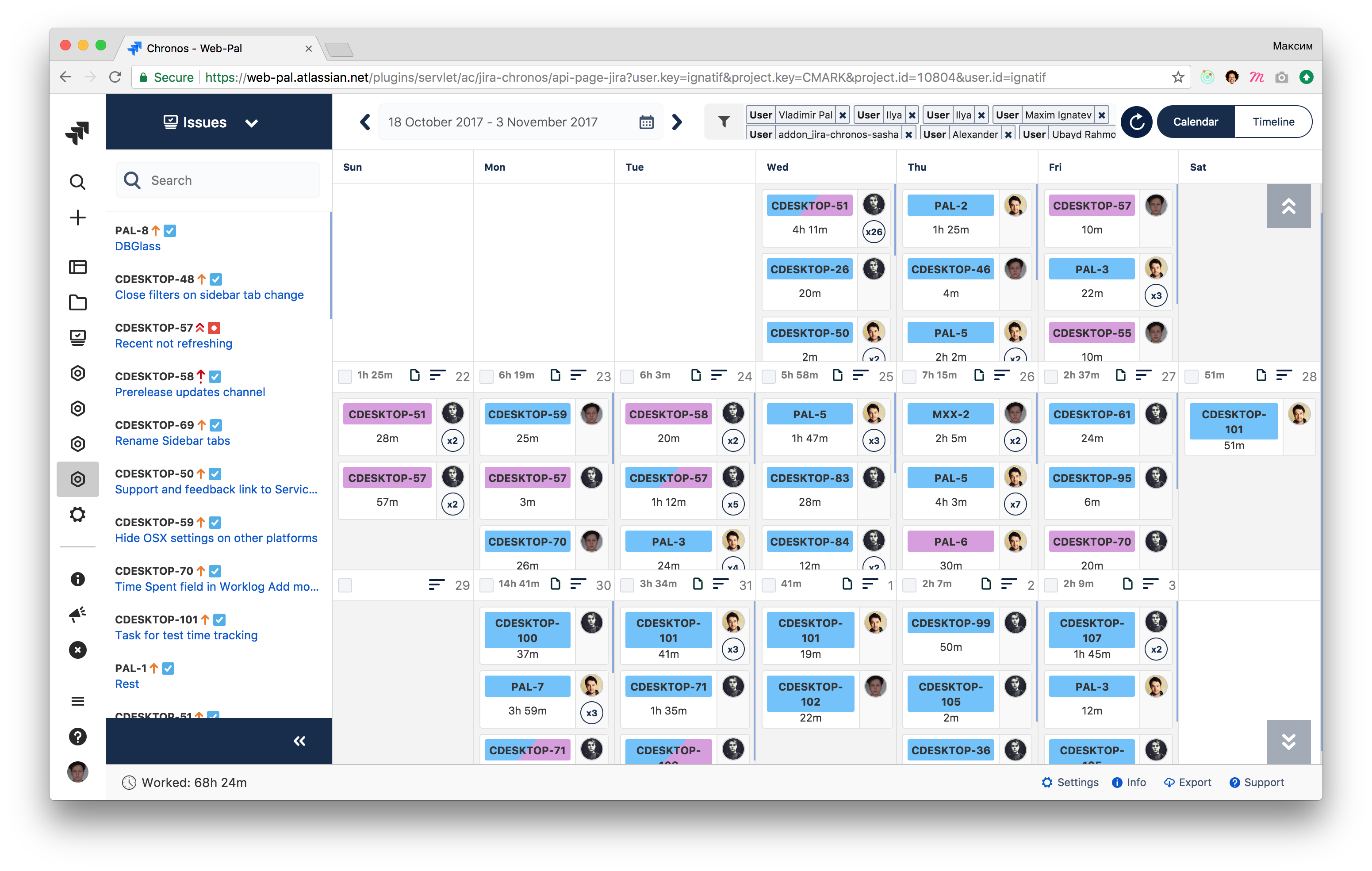 Chronos-timesheets Screenshot
