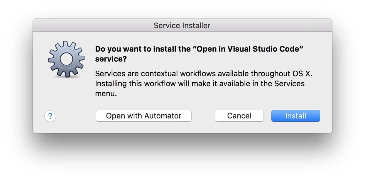 Install the service from the Finder