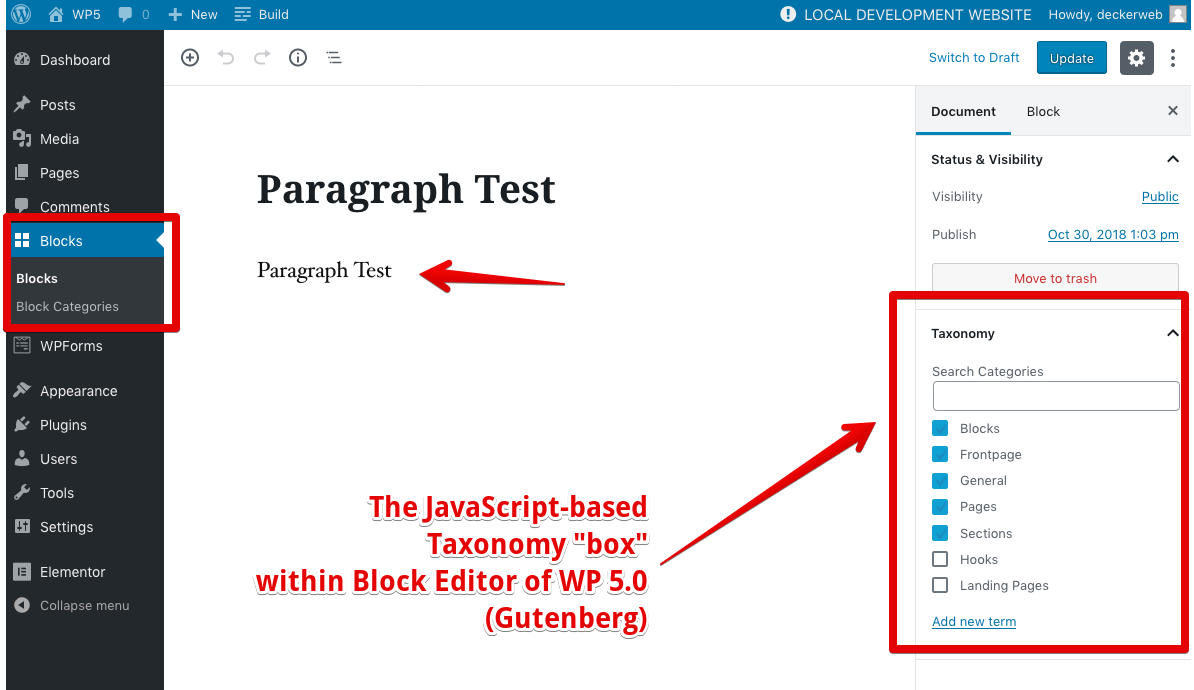 "Editing a Reusable Block - adding the ""Builder Template Categories"" taxonomy via the new Block Editor JavaScript-based meta box"