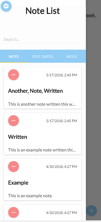 Sort by Note Screen