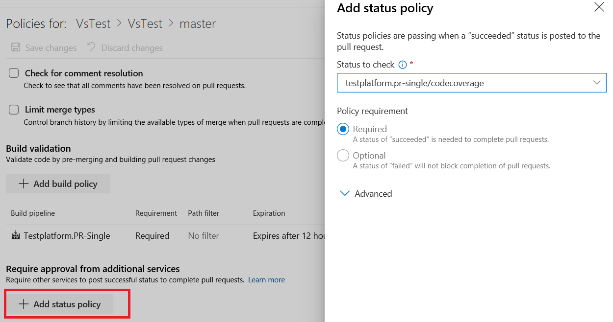 configure branch policy