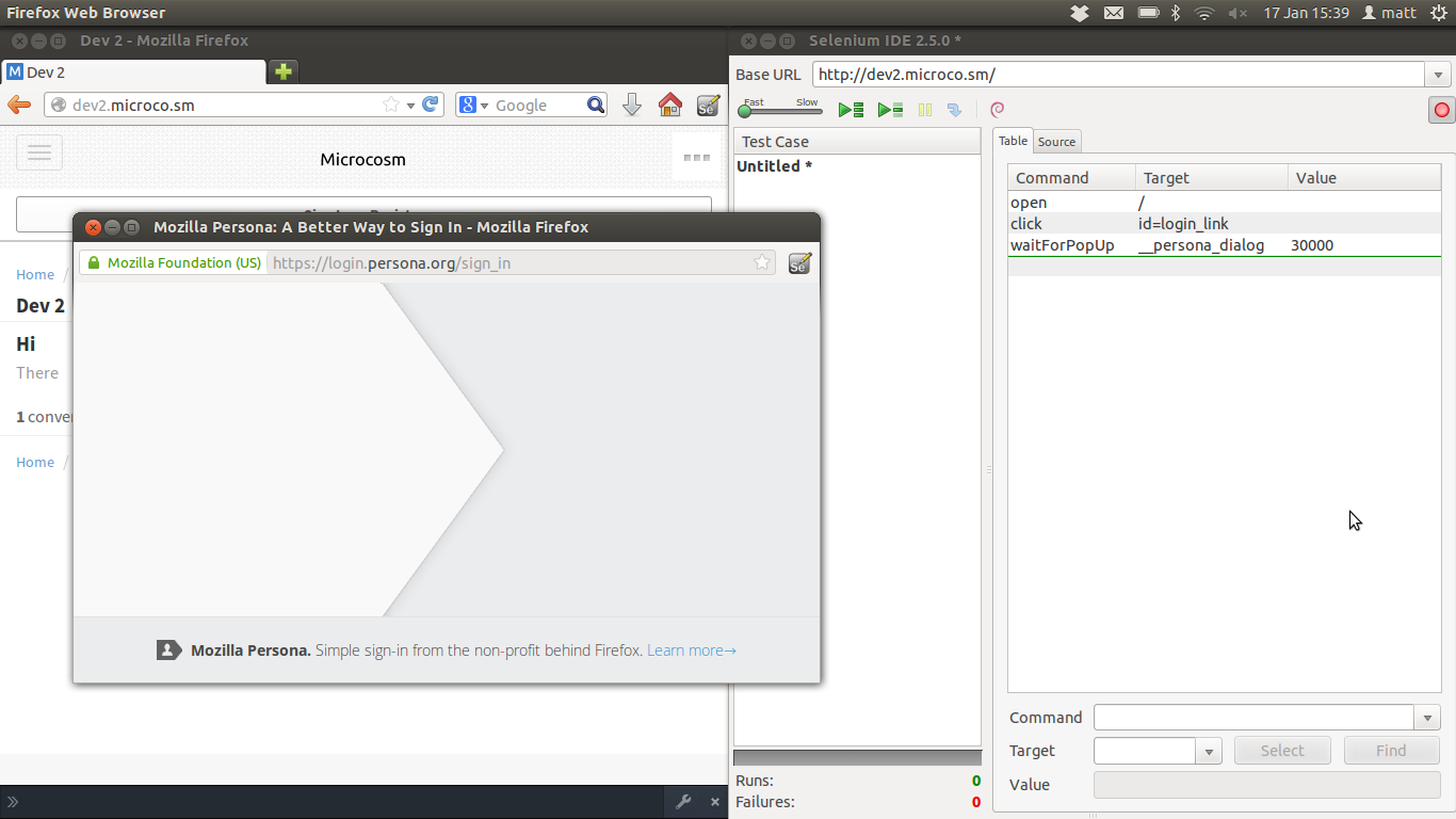 Popup does not show login form in Firefox if Selenium IDE is running