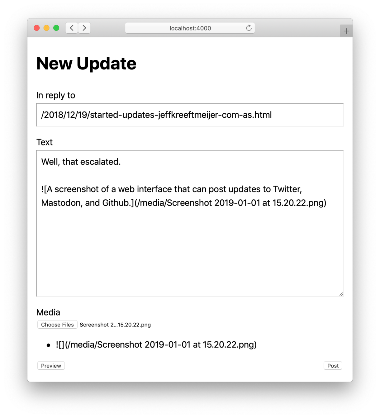 A screenshot of a web interface that can post updates to Twitter, Mastodon, and Github.