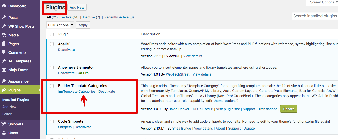 """Plugins page - list of all plugins - """"Builder Template Categories"""" with link to taxonomy listing table"""