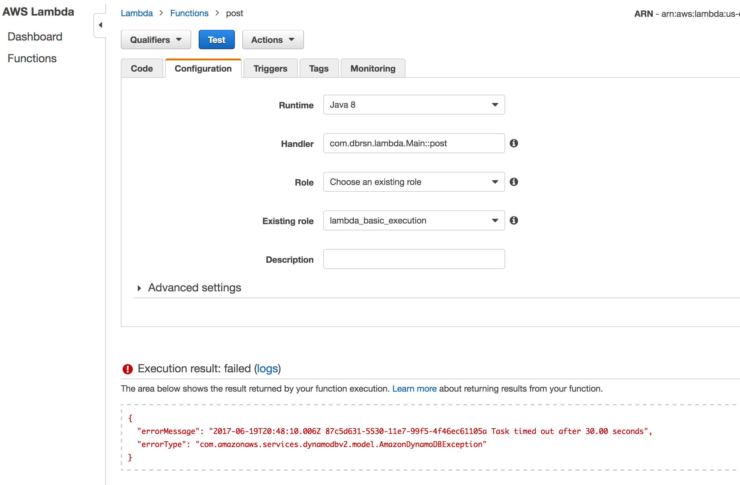 DynamoDB authorization error