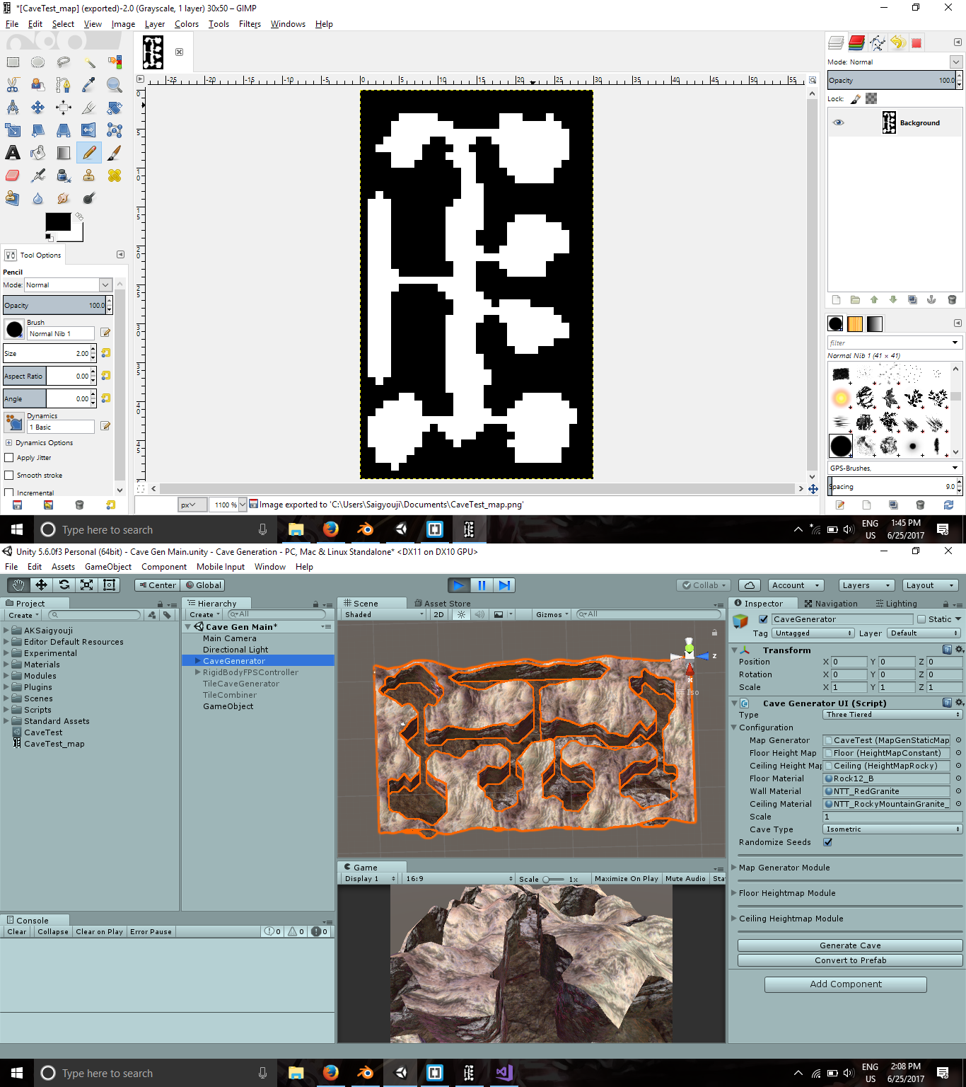 PNG in GIMP and Cave in Unity