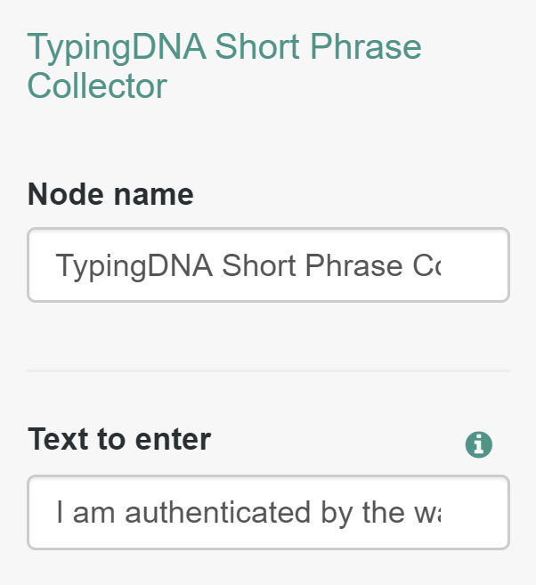 The TypingDNA Short Phrase Collector Node in ForgeRock.