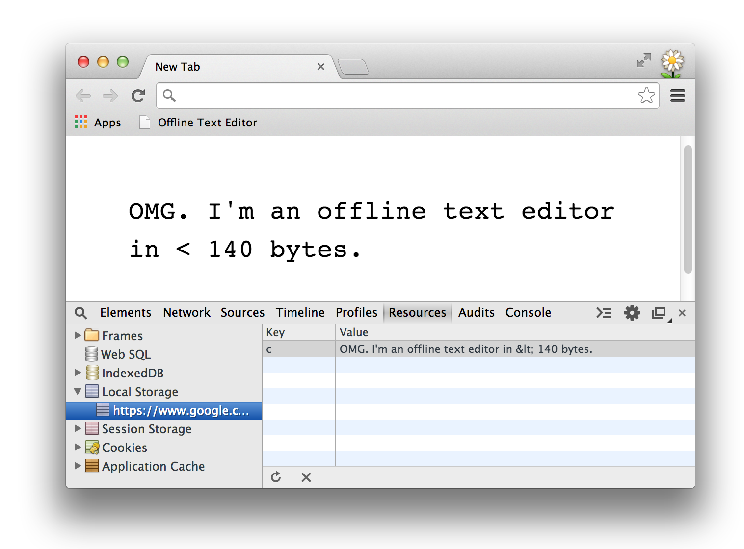 Offline Text Editor in < 140 bytes (115 bytes)  Powered by