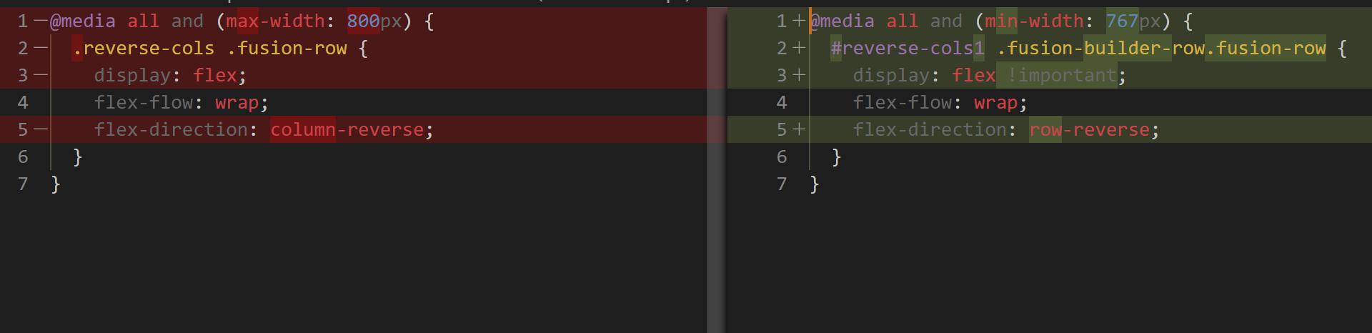 CSS Code Diff