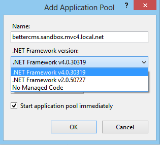 Application pool: .NET framework version