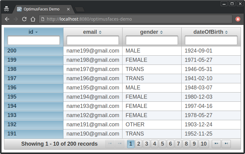 example of op:dataTable