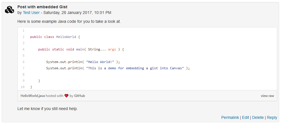 Post with embedded Gist