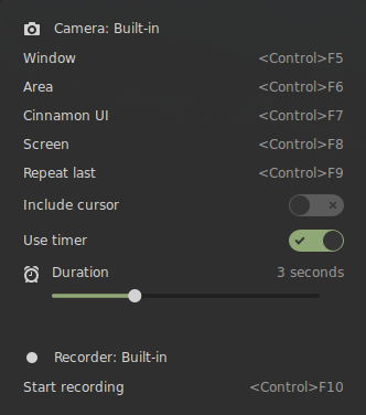 Applet configured for Cinnamon Screenshot and Recorder