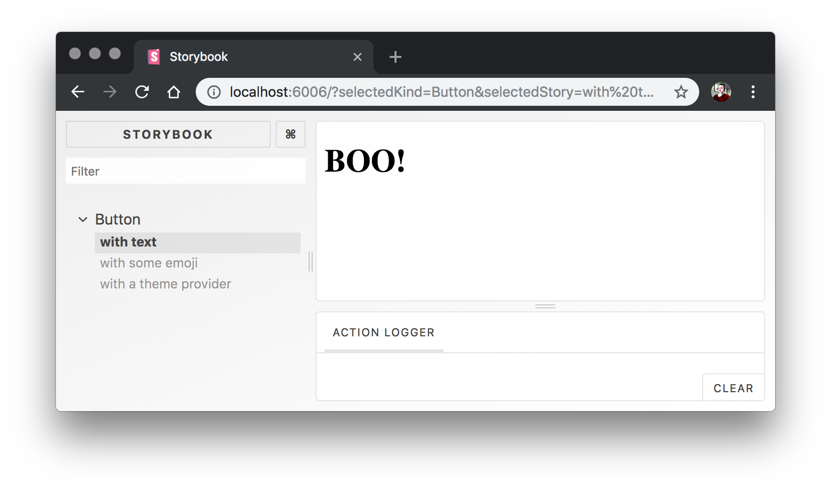 Screenshot of Storybook after hot-reloading our Button component