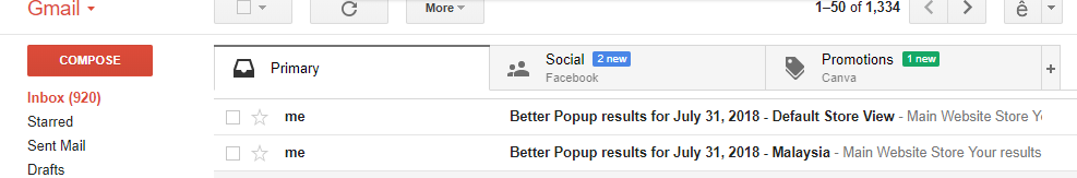 Better Popup email reports
