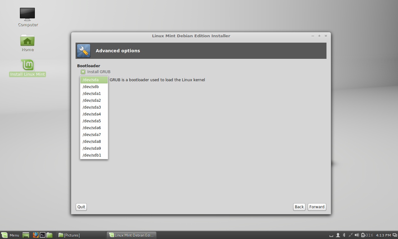 lmde installer - no drive names or partition labels