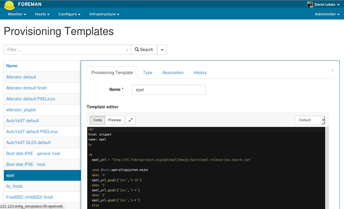 Provisioning templates