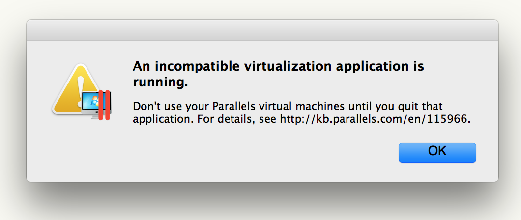 Parallels detecting xhyve