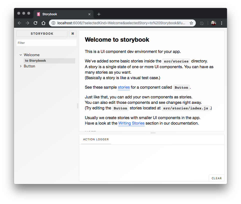 Screenshot of Storybook running in the web browser