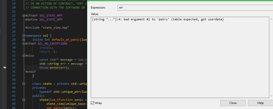 Arguments lua error: no such operator defined