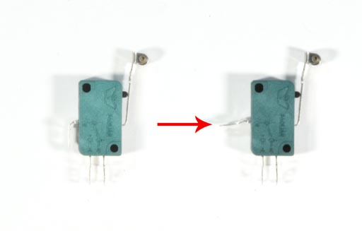 Photo of Microswitch and modification made to it