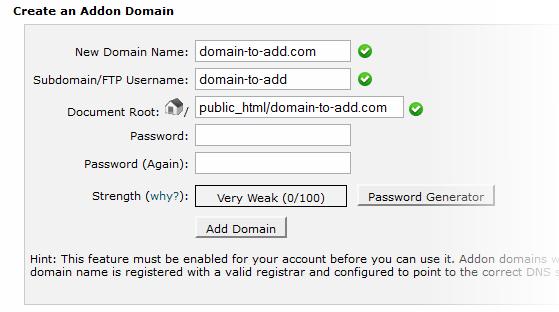 Creating an Addon Domain in cPanel