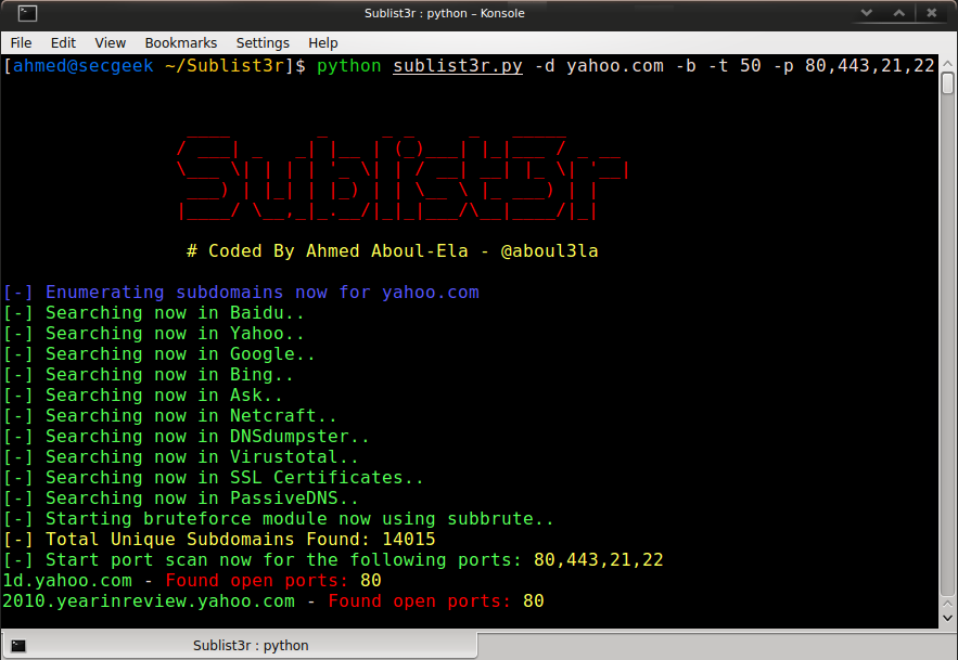 GitHub - aboul3la/Sublist3r: Fast subdomains enumeration