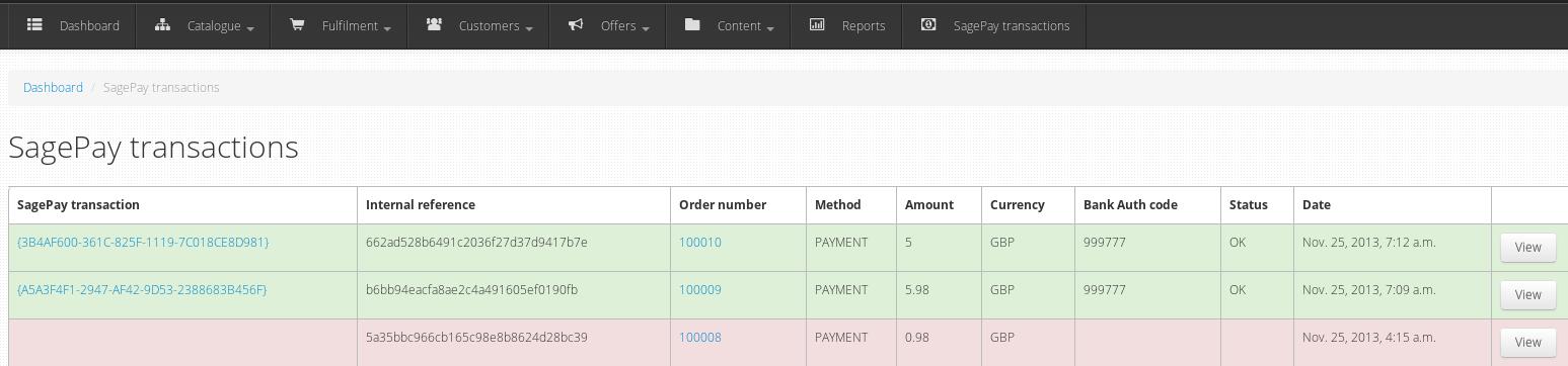 Transactions admin dashboard