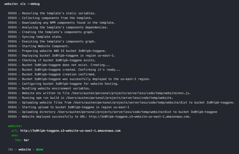 Serverless Components Debugging